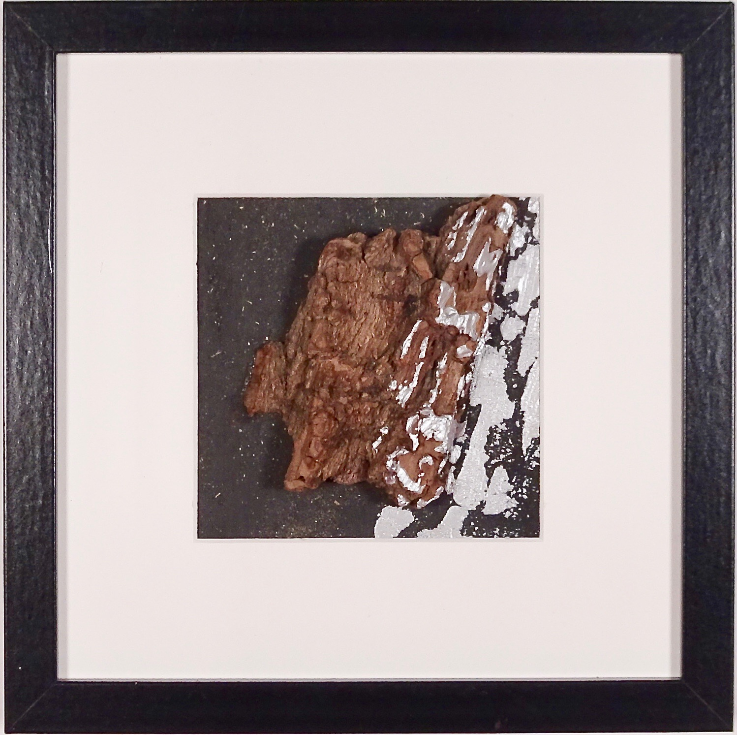 NAUFRAGIO #3 - Beached wood, acrylic, sea water on cardboard, 25x25cmm with passe-partout frame - AVAILABLE