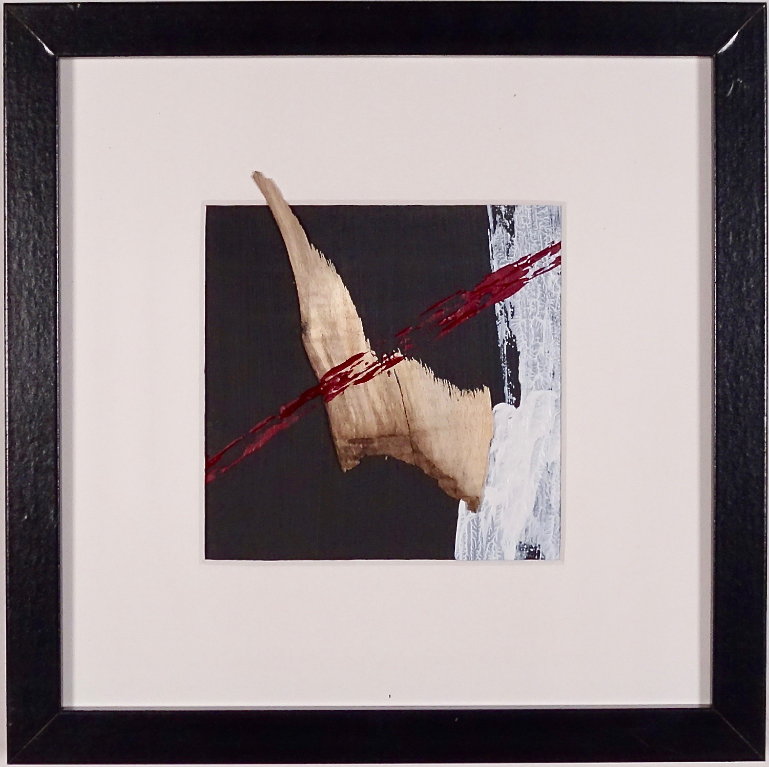 NAUFRAGIO #12 - Beached wood, acrylic, sea water on cardboard, 25x25cmm with passe-partout frame - AVAILABLE