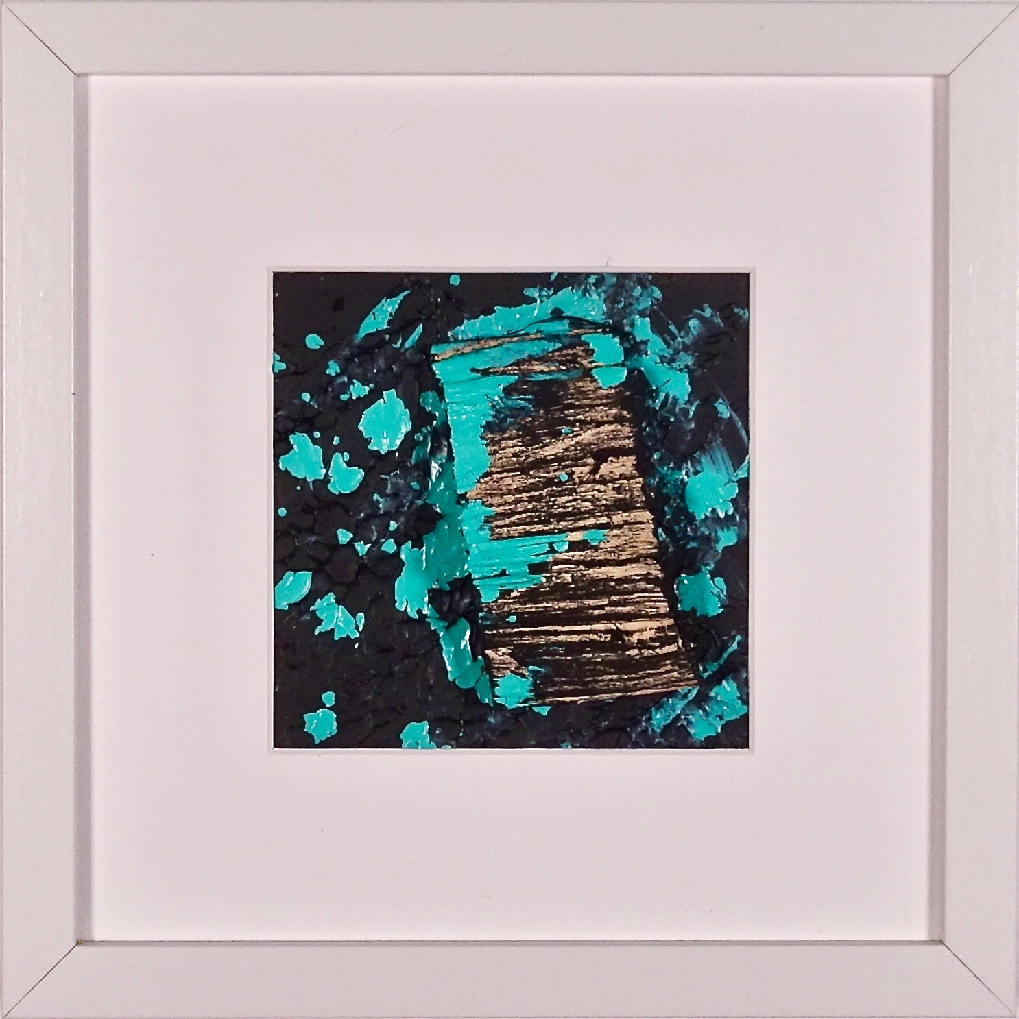 NAUFRAGIO #16 - Beached wood, acrylic, sea water on cardboard, 25x25cmm with passe-partout frame - AVAILABLE