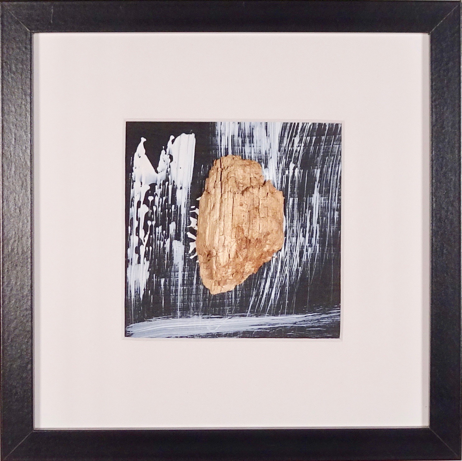 NAUFRAGIO #8 - Beached wood, acrylic, sea water on cardboard, 25x25cmm with passe-partout frame - AVAILABLE