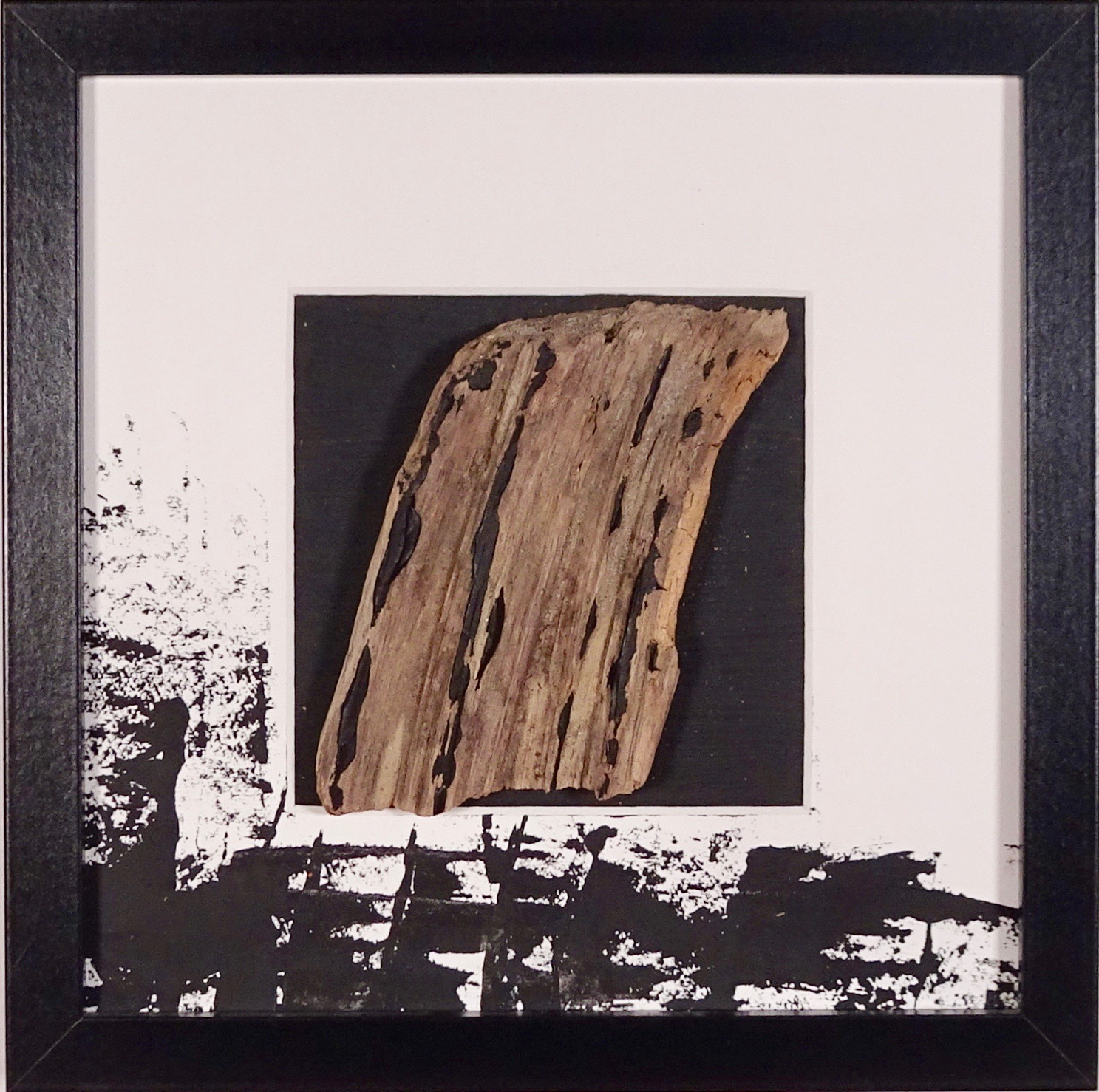NAUFRAGIO #9 - Beached wood, acrylic, sea water on cardboard, 25x25cmm with passe-partout frame - AVAILABLE