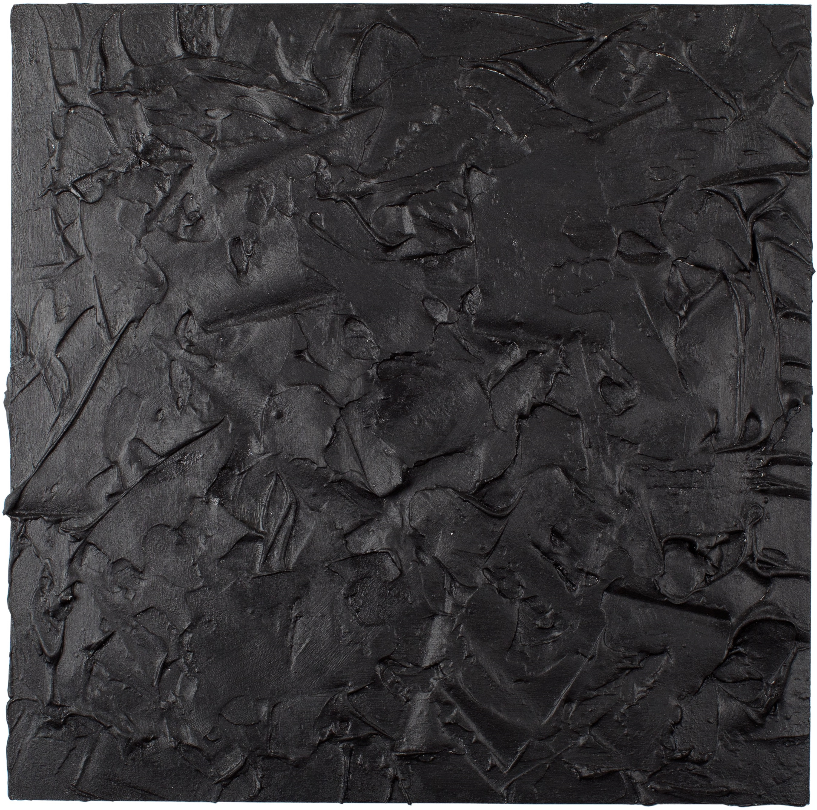NERO - Plaster and acrylic on chipboard, 45x45cm - UNAVAILABLE