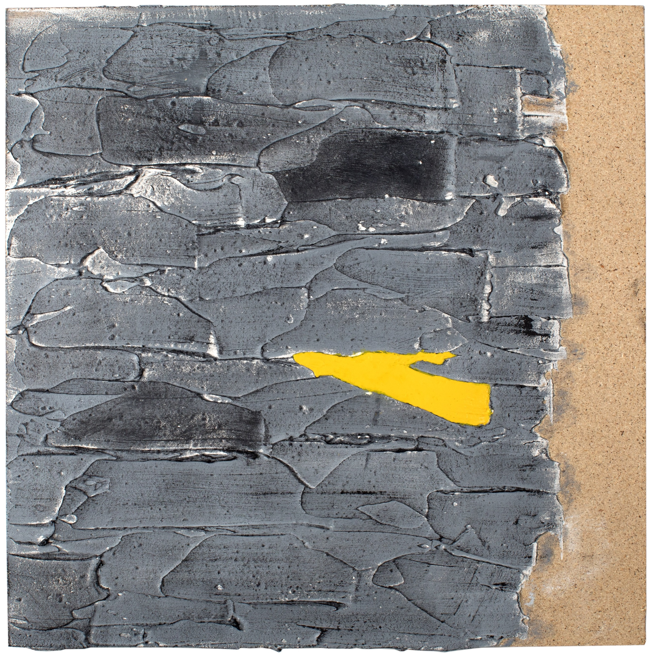 THE YELLOW MARK - Plaster and acrylic on chipboard, 45x45cm - AVAILABLE