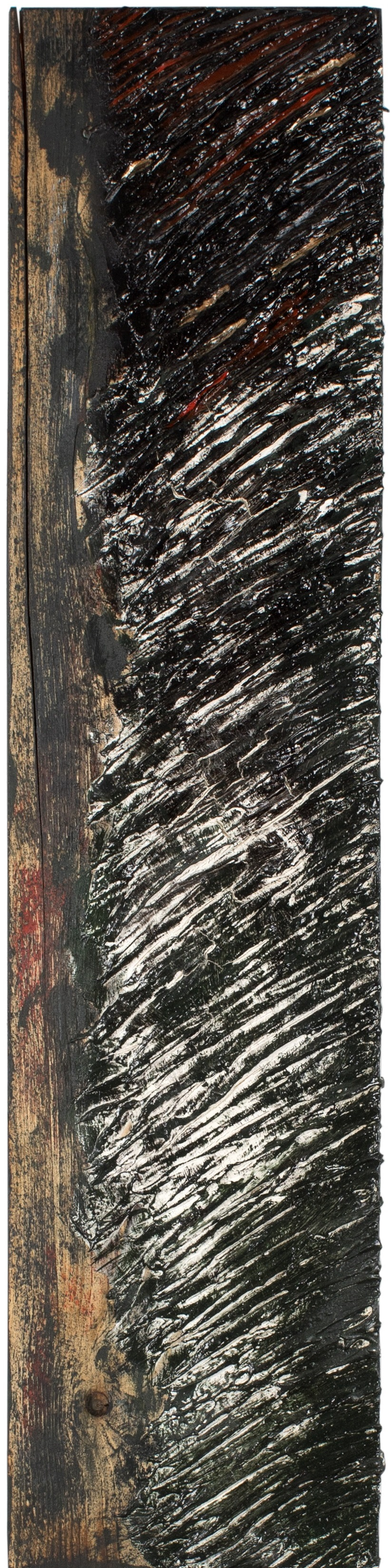 TRACCE#2 - Plaster and enamel on rough spruce board, 20x83cm - AVAILABLE