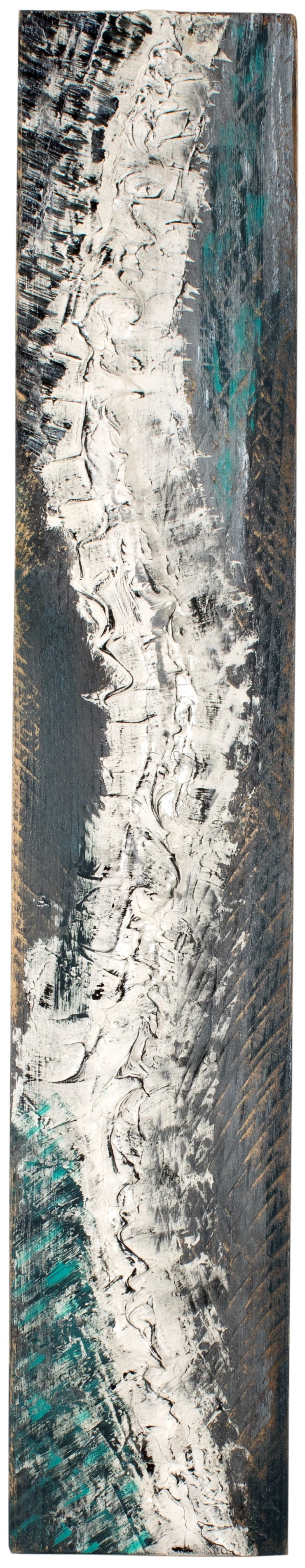 VERTEBRAE#1 - Plaster and acrylic on rough spruce board, 17x94cm - AVAILABLE
